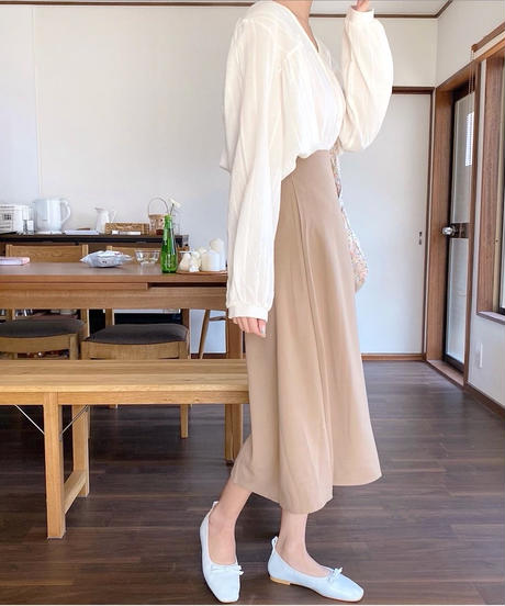 buckle slit flare skirt (3color)