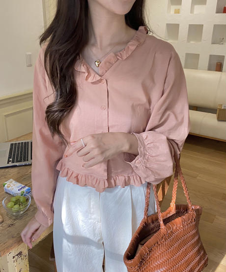 《 restock》cropped cotton frill blouse (3color)