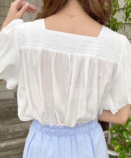 sleeve balloon square neck blouse
