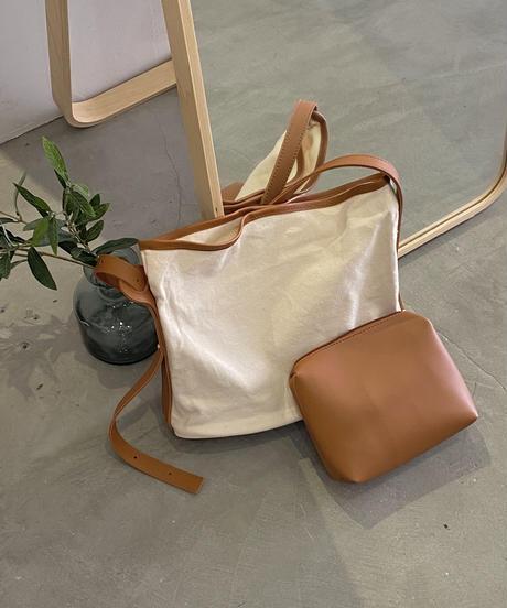 bicolor canvas bag pouch set (2color)