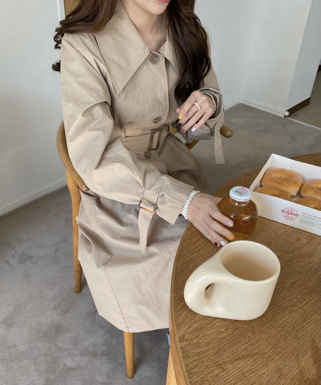 《予約販売》big collar single trench coat