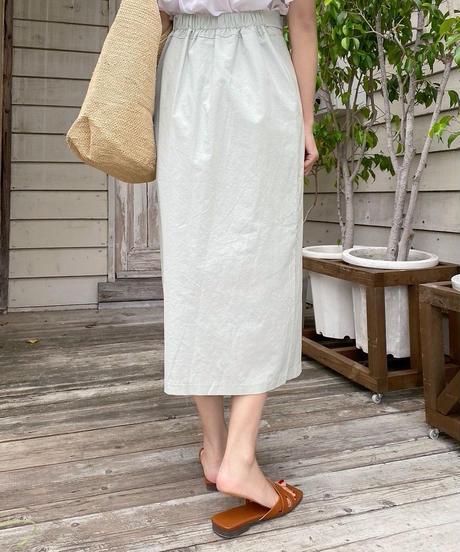 linen slit ribbon skirt (3color)
