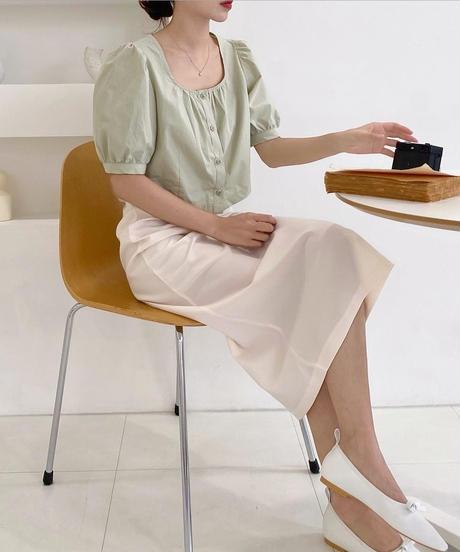 back slit tuck long skirt (2collar)