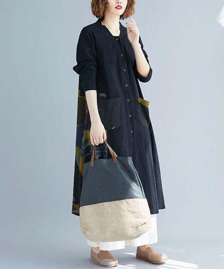 綿麻     プリント      コート