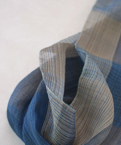 ストール 細縞格子ずり出し 藍&グレー 1380BG