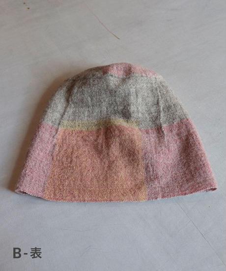 ねじり帽子 ヒマラヤウール つづら織り ピンク×イエロー×グレー  8200P