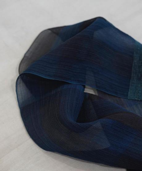 後染めストール つづら織り 藍 2610DB