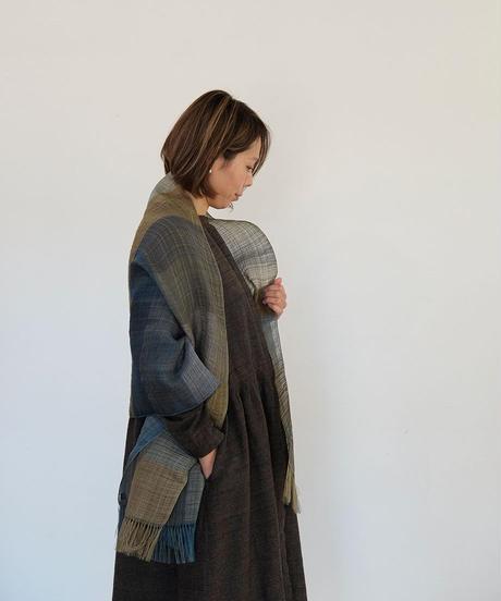 ストール デュピオン綾 ボーダー 藍&イエロー 1032YBl