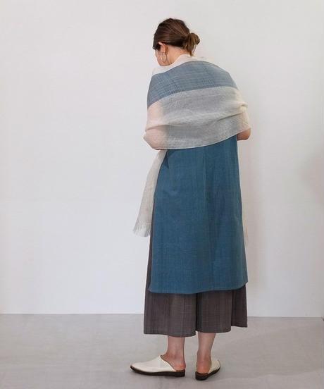 ストール 綾太ストライプ 白&藍 1350WI