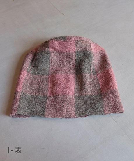 ねじり帽子 ヒマラヤウール つづら織り ピンク×グレー G–I 8200P