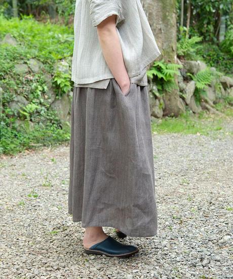 kotiスカート 麻シルク チャコール 6900lC