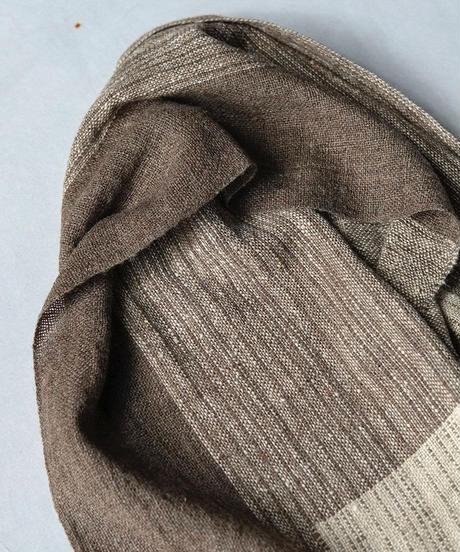 マフラー 混紡マフラーつづら織り チャコールベージュ 4317C