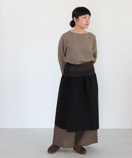 台形腰巻き ウール&タッサーシルクナシ 黒 5503B