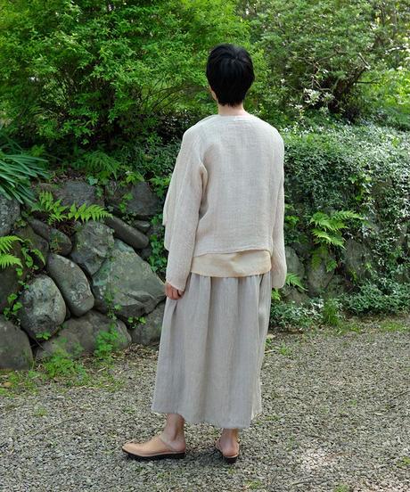 kotiスカート 麻シルク 2トーン グレー 6900lLGt