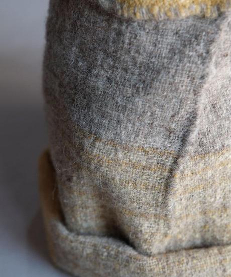 ねじり帽子 ヒマラヤウール つづら織り イエロー×グレー  8200Y