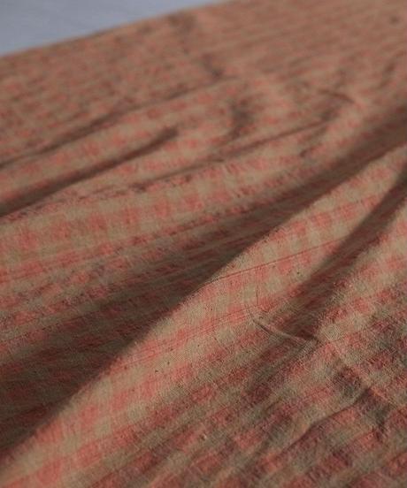 カディ反物 有機茶綿 赤格子 9649cR