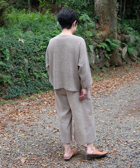 パンツ ショートワイド 秋格子 グレー 6857wkG