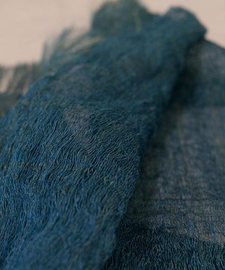 ストール 二重織り空羽 ずり出し 藍 1210Bl