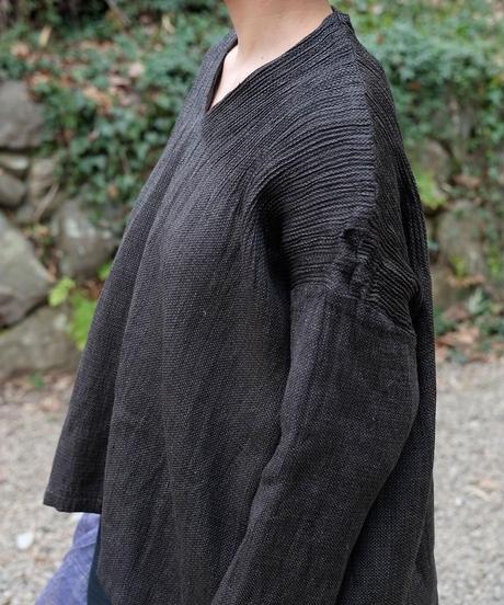 kotiプルオーバー 麻シルク 黒 6556lB