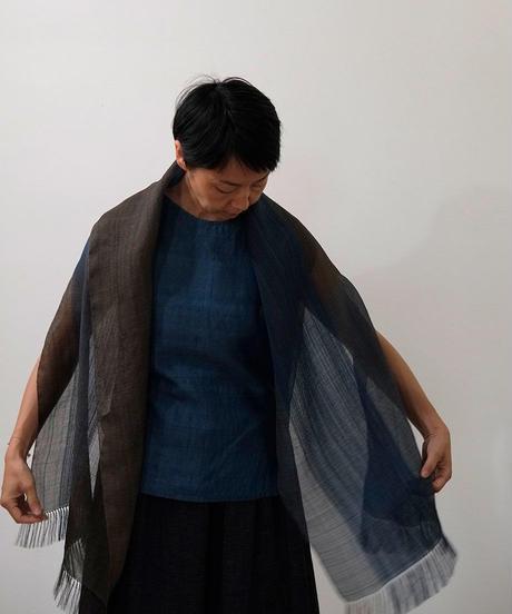 ストール 綾太ストライプ 茶&藍 1350Brl