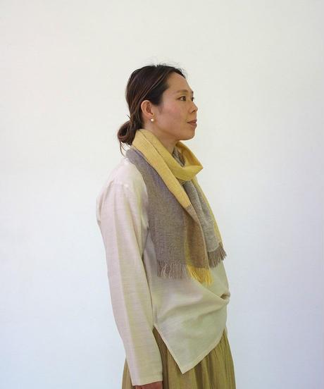 ストール  ピュアパシミナ  ミニ  つづら織り  イエロー