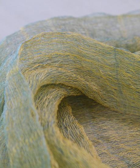 ストール 二重織り空羽 ずり出し 黄色&水縹色 1210YBl