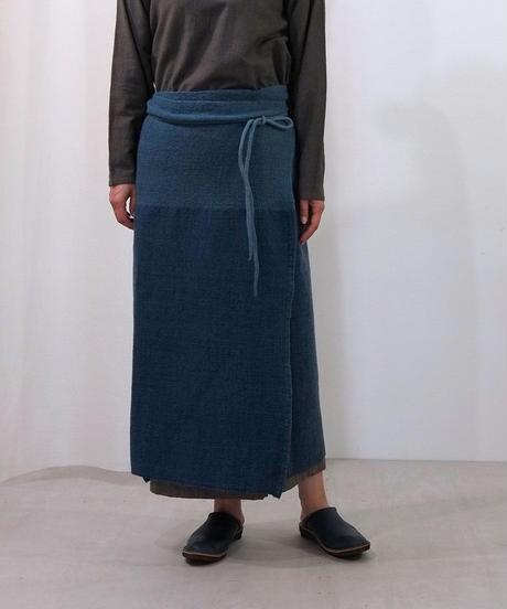 台形腰巻き 藍の半発酵染め ヒマラヤウール  5500I