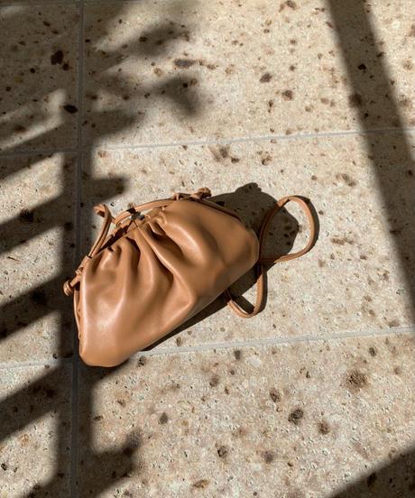 Drawstring Leather 2way Bag