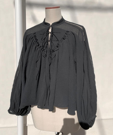 3ren ribbon blouse ( black )