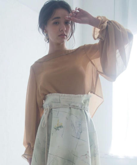 back 3ren ribbon short blouse <21sp-to-03-or>