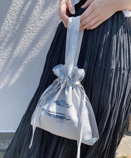 rusty blue  drawstring bag