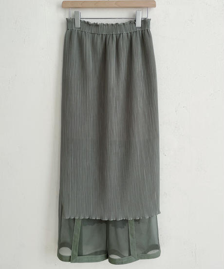 see-through layered pants (green)