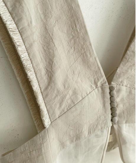 row button layered bustier (light beige)