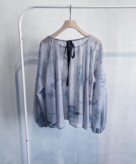 rusty blue tulle blouse ( blue ) <20ss-bl-01-bl>