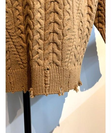cable damage knit (  camel  )