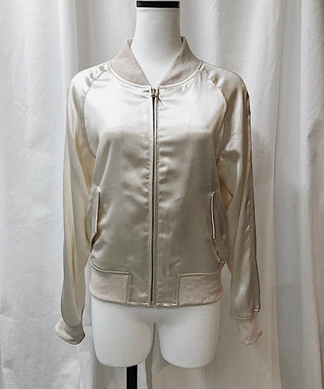 shiny compact blouson ( light beige )