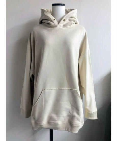 back logoprint Big hoodie (ivory)