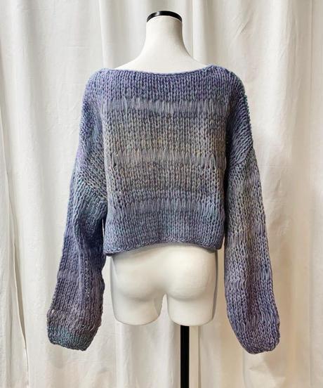 gradation cropped knit (sax)