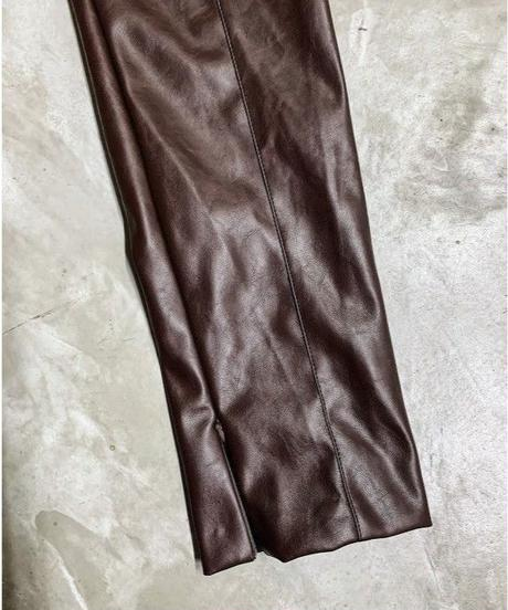 fake leater  pants (brown)
