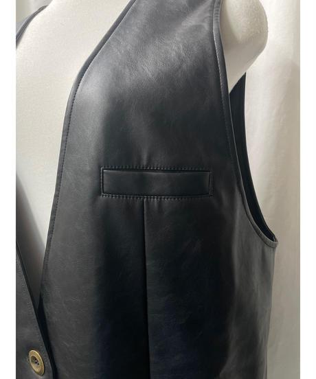 fake leather long vest