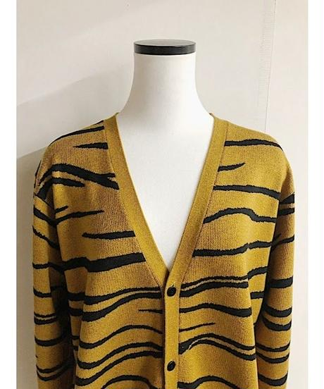 intarsia knit cardigan (mustered)