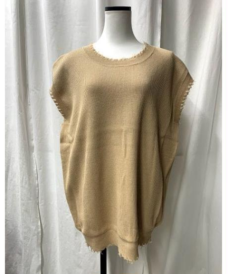 damege big knit vest (sand beige)