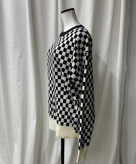 checker patern big knit (black)