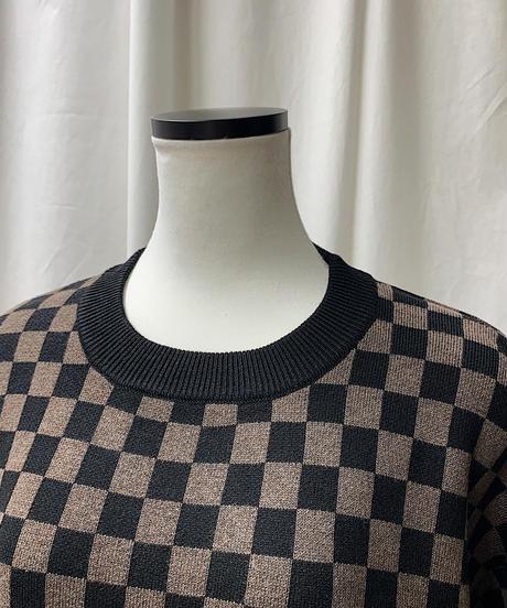 checker patern big knit (brown)