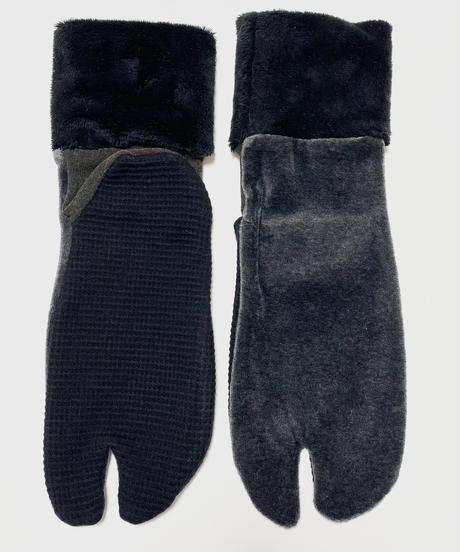 《ぺーどろりーの》足袋靴下(黒ベロア×リブ黒起毛)