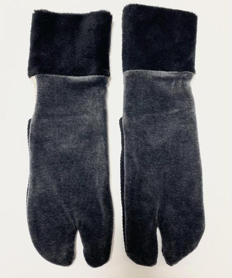 《ぺーどろりーの》足袋靴下(黒ベロア×黒起毛リブ×かかとキナリ)