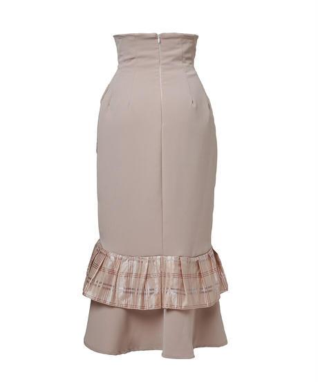 double frill corset skirt−newbeige−