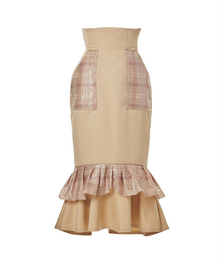 double frill corset skirt−beige−