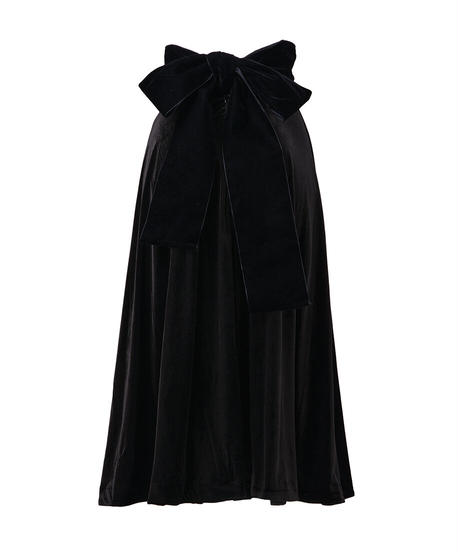 waist ribbon velour flare skirt