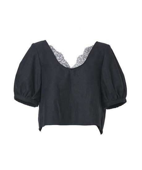 lace puff sleeve tops-black denim-
